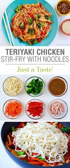 Teriyaki Chicken Stir-Fry with Noodles recipe via justataste.com