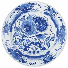 Chinese Export Blue and White Porcelain Charger for Sale at Auction on Tue, - - American Furniture & Decorative Arts Chinese Figurines, Pottery Patterns, Chinese Design, Blue Pottery, Blue And White China, Russian Blue, Blue Plates, White Plates, China Painting