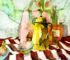 Still Life on a Red & White Striped Cloth, watercolour & graphite, 31 x 37 cm, by Shirley Trevena Abstract Watercolor, Watercolor And Ink, Watercolor Paintings, Watercolors, Shirley Trevena, Guache, Still Life Art, Painting Inspiration, Art Lessons