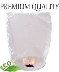 Premium ECO Wire-free Eclipse Sky Lantern White to light after the ceremony. $1.69 each, 100% biodegradable