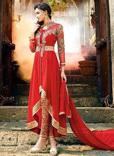 Red Georgette Embroidery Party Wear Salwar Kameez With Resham Thread Embroidery, Patch, Lace, Zari Work.