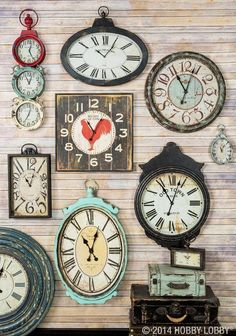 "I want a ""wall of clocks"".in the family room. A stylish wall is only a matter of time! Try turning back the clock with one of these vintage designs. Clock Decor, Wall Decor, Clock Display, Bedroom Decor, Vintage Decor, Vintage Designs, Vintage Ideas, Vintage Labels, Vintage Ephemera"