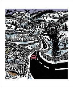"""""""Snow on the Fields"""" by Carry Akroyd (linocut)"""