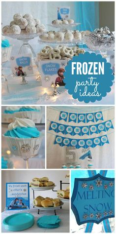 Snowballs, frozen hearts, Kristoff's ice and melting snow punch are just a few things we love about this Frozen birthday party!  | via CatchMyParty.com