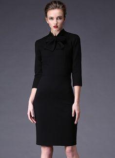 Cotton Blends Solid Half Sleeve Above Knee Elegant Dresses