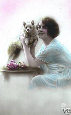 EDWARDIAN LADY & Pomeranian GERMAN SPITZ DOG -  10's
