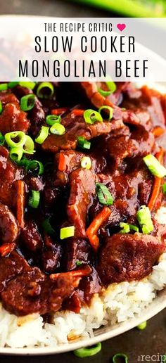 Slow Cooker Mongolian beef , Beef that slow cooks to tender melt in your mouth perfection.  This takes minutes to throw into the crockpot and has such amazing flavor!  One of the best things that you will make in your slow cooker! #beef #dinner #recipe #slowcooker #crockpot