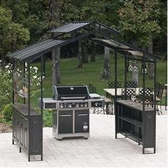 Available at SamsClub and thinking about putting it by the built in barbecue. Grill Gazebo, Patio Grill, Outdoor Spaces, Outdoor Living, Outdoor Decor, Awning Shade, Built In Grill, Contemporary Garden, Garden Structures