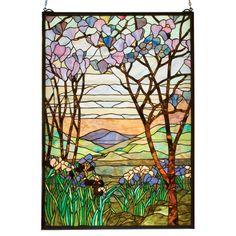 Meyda Tiffany Tiffany Nouveau Tiffany Magnolia and Iris Stained Glass Window   Wayfair