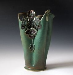 Art Nouveau style vase with lacy cutwork. Hand by MaidOfClay, $100.00