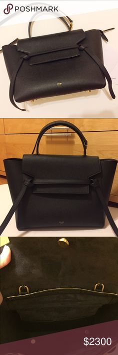 Authentic Celine belt bag in black A mini size (same size as pictured on Rosie) for sale! I just bought this in Europe, and still have the original tags and dust bag. I've only worn it once so it's in perfect condition. Feel free to reach out if you want to see more pics! 11 X 9 X 6 IN  CALFSKIN AND SPLIT CALFSKIN LINING Celine Bags