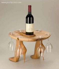 For the Lady who loves Shoes and Wine... how cool is that!? [kitchen wine glass/bottle holder storage organizer, gadget]