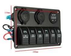 Laser-LED-Rocker-Switch-Panel-Circuit-Breaker-USB-Charger-Socket-For-Car-Boat
