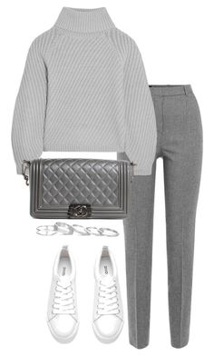 """""""Untitled #3120"""" by theeuropeancloset ❤ liked on Polyvore featuring The Kooples, Iris & Ink, H&M, Chanel and Kendra Scott"""