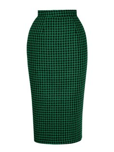 1404122d6e Pencil Skirt Large Dogtooth Green from Vivien of Holloway
