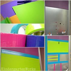 Oil pan + scrapbook paper + duct tape = classroom attendance, lunch and menu board (http://www.kindergartenworks.com/)