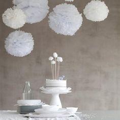 Witte pompoms