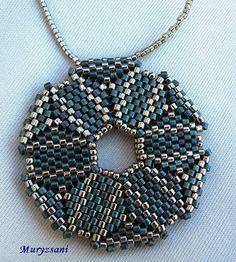 .brickstitch pendant in blue-silver colours - beatiful