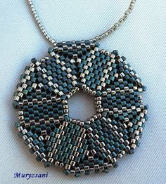 .brickstitch pendant in blue-silver colours - beatiful