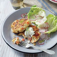 Red Pepper Crab Cakes with Lemony Mayo | MyRecipes.com