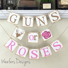 Gender Reveal banner, Guns or Roses Banner, Rustic Baby Shower Decor, Baby Shower Decorations, Rustic Brown and Glitter Pink by WeefersDesigns on Etsy