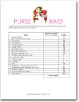 Free printable wedding shower games - What's In Your Purse... word scramble... word search...