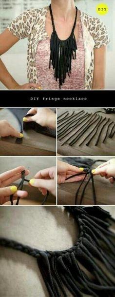 DIY Fringe Necklace diy craft crafts craft ideas easy crafts diy ideas crafty easy diy diy jewelry craft necklace diy necklace jewelry diy fashion craft