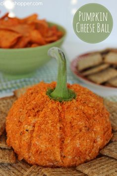 Nacho Pumpkin Cheese Ball Recipe. Perfect to serve at our Halloween and Fall parties. Super Simple and SUPER Cute!