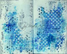 """My art journal page """"Brood about things..."""" Novembrováart  journalvýzva na ArtGrupa ATC  je  zaujímavá, pochádza od JaMajka  a téma má názov  Použi modrú farbu ...      DieNov..."""