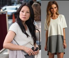 Elementary season 2, episode 3: Joan Watson's (Lucy Liu) grey and cream color block tunic is the Mason by Michelle Mason Leather Front Tee Dress #getthelook #elementary #joanwatson