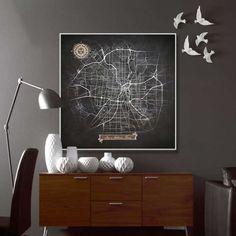 SAN ANTONIO Texas Chalkboard Map Art Black and di NightLightMaps