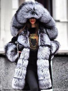 Women Faux Fur Jacket Warm Fluffy Coat for Winter Plus Size Coat – Ratecutestore Faux Fur Hooded Coat, Faux Fur Collar, Winter Fashion Casual, Winter Outfits, Fur Fashion, Fashion Outfits, Sporty Fashion, Fashion Women, Long Overcoat