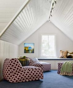 Fun attic lounge room with painted tongue and groove clad walls and ceilings over a built-in window seat accented with anchor print pillows with Links Bean Bag Chair Loungers in front atop a denim blue colored rug. Home, Bonus Rooms, Lounge, White Rooms, House, Window Seat, Attic House, Lounge Room, Room