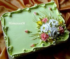 Buttercream flower and border decoration / sheet cake decoration