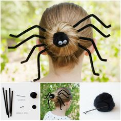 Halloween Inspired Silly Spider Halloween Hairdo - ready to get your beauty and creep Halloween on as well? Create your own Halloween Hairdo with creepy spider bun Diy Halloween, Halloween Mono, Theme Halloween, Halloween Spider, Costume Halloween, Holidays Halloween, Halloween Treats, Halloween Makeup, Happy Halloween