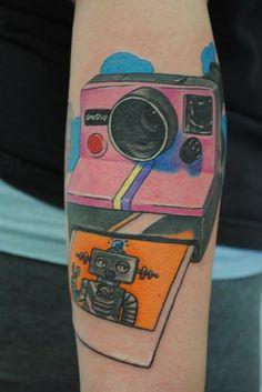 Robot polaroid tattoo.