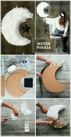 M☼☼N Pinata diy Word crepe paper M☼☼N Pinata - Sibel özcan - İmreis Pin 40 Handmade DIY Decoration Ideas For Different Purposes All it takes is some craft supplies and Handmade DIY Decoration Ideas For Different Purposes Great Idea of using Cre Kids Crafts, Home Crafts, Diy And Crafts, Paper Crafts, Upcycled Crafts, Cardboard Crafts, Diy Crafts For Your Room, Adult Crafts, Decor Crafts