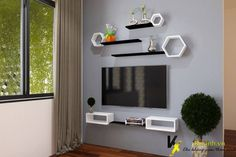 Living Room Tv Unit Designs, Ceiling Design Living Room, Tv Wall Design, Bookshelf Design, Wall Shelves Design, Tv Unit Decor, Tv Wall Decor, Diy Cardboard Furniture, Living Tv