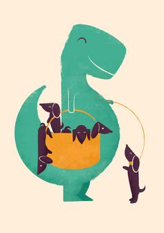 Poster   T-REX AND HIS BASKETFUL  von Jay Fleck   more posters at http://moreposter.de