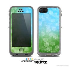 The Abstract Shaped Sparkle Unfocused Blue & Green Skin for the Apple iPhone 5c LifeProof Case