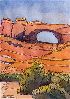 Ink and watercolor painting from a photo I took during a 2005 visit to Arches National Park. Watercolor Landscape, Watercolor And Ink, Landscape Paintings, Watercolor Paintings, Watercolor Trees, Watercolor Artists, Watercolor Portraits, Abstract Paintings, Art Paintings