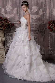 Robe de mariée en organza avec perle dans leglise de bustier de traîne moyenne
