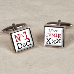 """Personalised No 1 Dad Cufflinks One cufflink can be personalised with the sender's name The text on one cuff, """"No 1 Dad"""" comes as standard Cufflinks are set in a chrome base"""