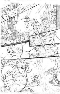 Joe Madureira MAD Sketck Street Fighter - comic, panel, page, comic book, fight scene Comic Book Artists, Comic Artist, Comic Books Art, Joe Madureira, Bd Comics, Manga Comics, Street Fighter Comics, Comic Book Layout, Character Art