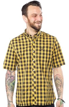 FRED PERRY MACLEOD TARTAN BUTTON DOWN SHIRT Strap on those oxblood Dr Martens and button down this Macleod tartan shirt for a night out to the club. This popular yellow Scottish tartan, with broad black stripes and an accent of red, has short sleeves and features a notch at the cuff. This button down collar shirt is finished off with a chest pocket complete with embroidered laurel wreath. $114.00 #FREDPERRY #GUYS #BUTTONUP #CHECKERED #YELLOW