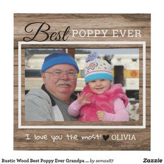 Rustic Wood Best Poppy Ever Grandpa Photo Faux Canvas Print Love You The Most, Grandparent Gifts, Grandpa Gifts, Business Supplies, Party Hats, Rustic Wood, Aesthetic Wallpapers, Wrapped Canvas, Poppy
