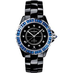 J12 Jewelry Watch - H3122 - CHANEL ❤ liked on Polyvore featuring jewelry, watches, chanel, white gold jewellery, white gold watches, chanel watches and blue watches