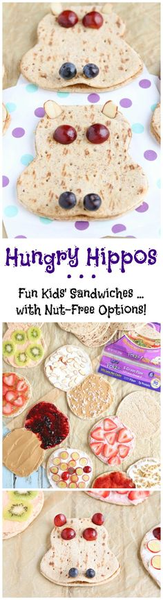 """Kids will love this adorable sandwich recipe! Easy and so adaptable! Use it as a fun """"edible art project"""" ... or as a special little lunch box surprise! Choose basic peanut butter and jelly, or one of our other creative filling ideas (even lots of nut-free options for school lunches)! A kid friendly way to help kids eat healthy - loaded with protein and fiber, plus a little fresh fruit, too! A healthy kids' lunch idea they'll love, and so will you! {ad} 