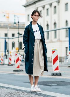 Cool look - nude midi skirt, and this loose blue jacket