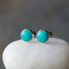 Sleeping Beauty Turquoise Stud Earrings 6mm Sterling Silver Post Handmade Jewelry